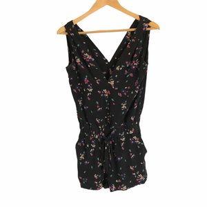 NEW Sezane 100% Silk Floral Black Romper Small
